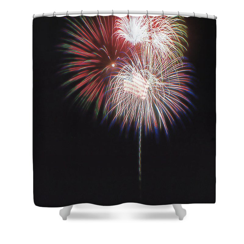 Fireworks Shower Curtain featuring the photograph Fireworks For 4th Of July by Cathy Anderson