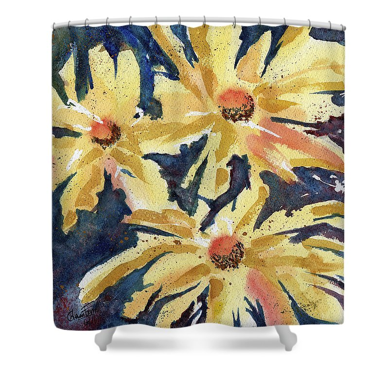 Yellow Shower Curtain featuring the painting Fireworks In Flower by Glenn Farrell