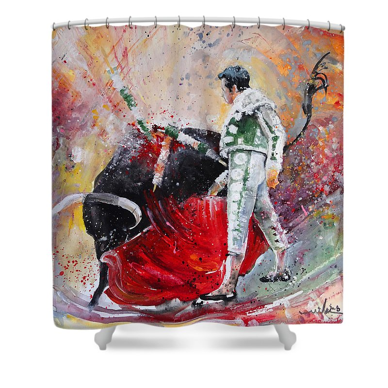 Animals Shower Curtain featuring the painting Fireworks In The Bullring by Miki De Goodaboom