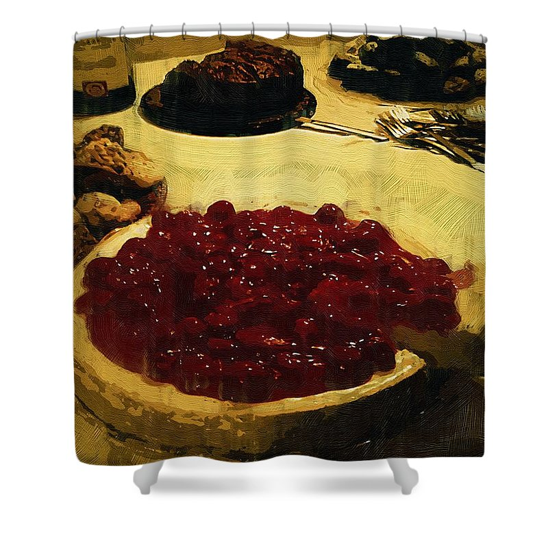Dessert Shower Curtain featuring the painting First Cut by RC DeWinter