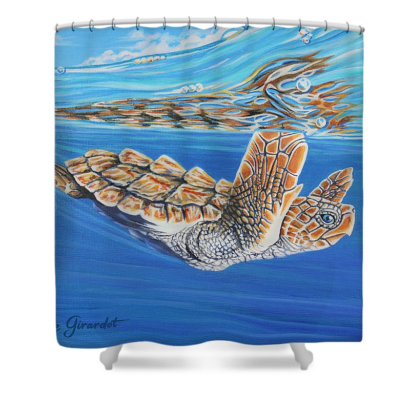 Ocean Shower Curtain featuring the painting First Dive by Jane Girardot