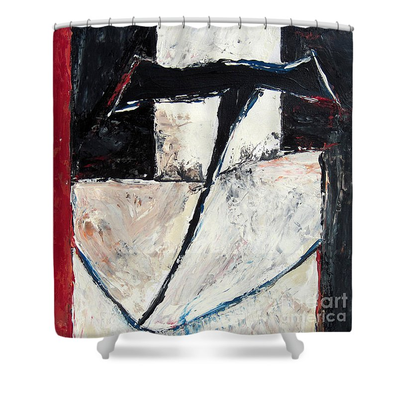 Abstract Shower Curtain featuring the painting First Flower by Barry Treu