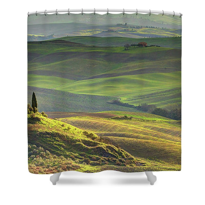 Scenics Shower Curtain featuring the photograph First Light In Tuscany by Maurice Ford