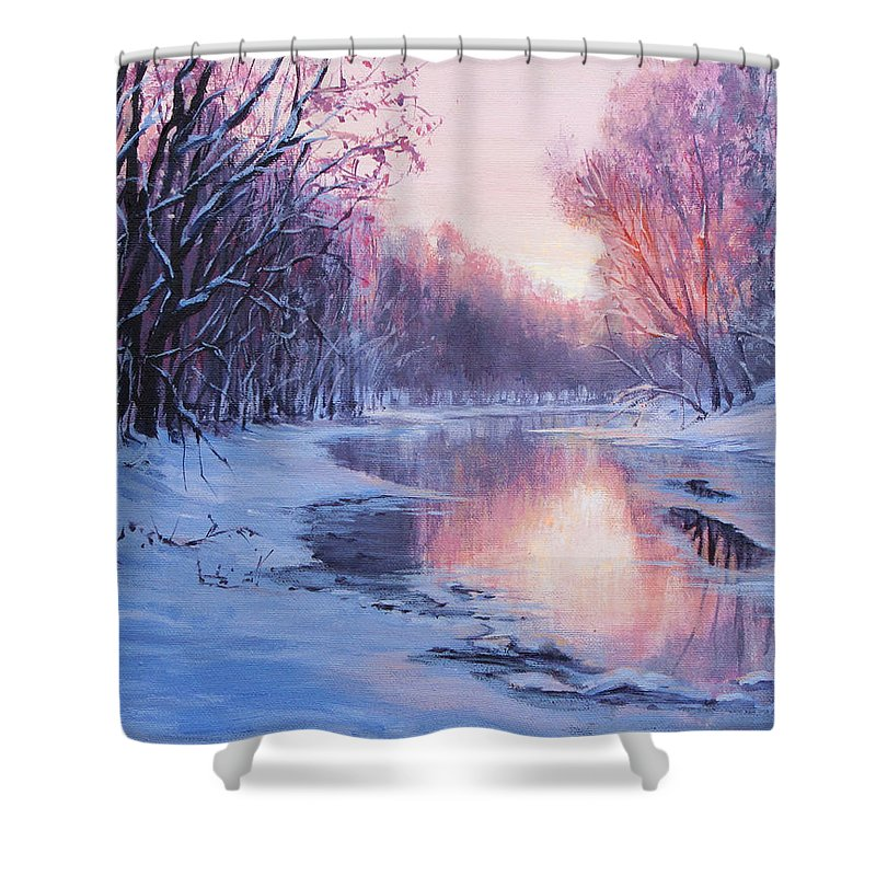 Landscape Shower Curtain featuring the painting First Light by Karen Ilari