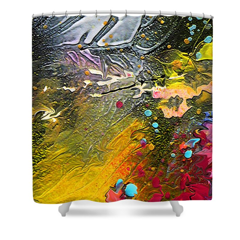 Miki Shower Curtain featuring the painting First Light by Miki De Goodaboom