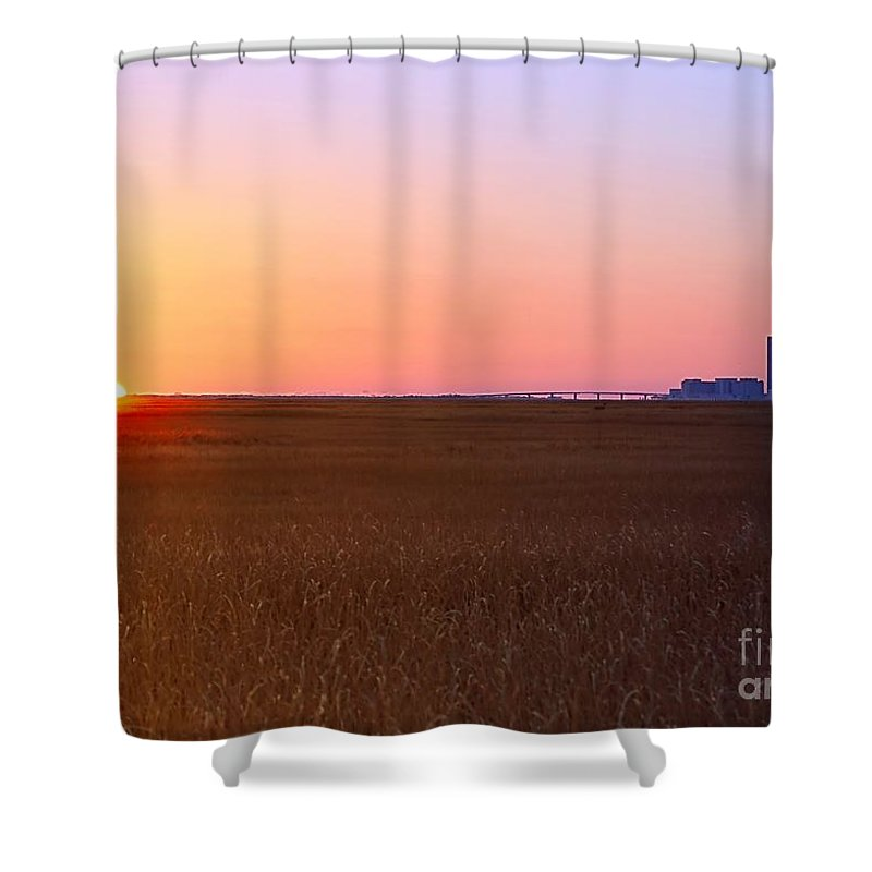 First Shower Curtain featuring the photograph First Light Of 2015 by Sharon Woerner