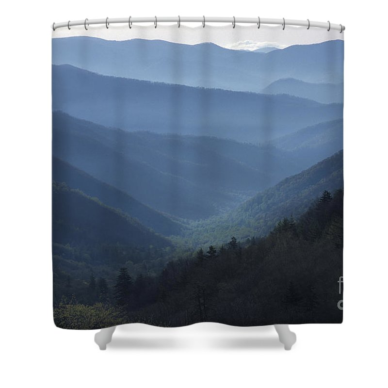 Landscape Shower Curtain featuring the photograph First Light On Clingman's Dome by Sandra Bronstein