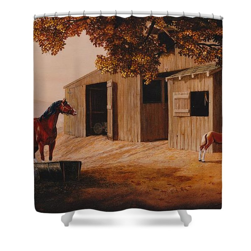 Farm Shower Curtain featuring the painting First Meeting by Duane R Probus