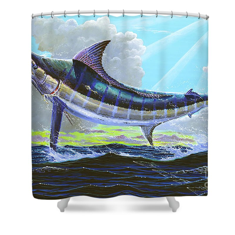 Marlin Shower Curtain featuring the painting First Run 00102 by Carey Chen
