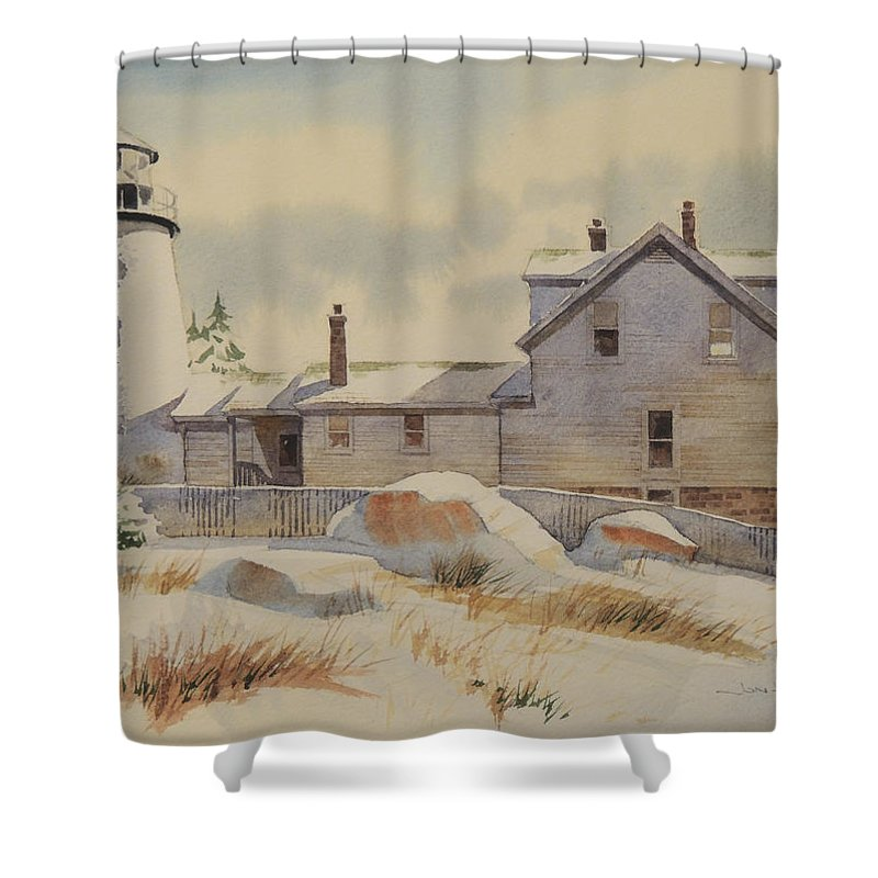 Landscapes Shower Curtain featuring the painting First Snow by Jon Hunter