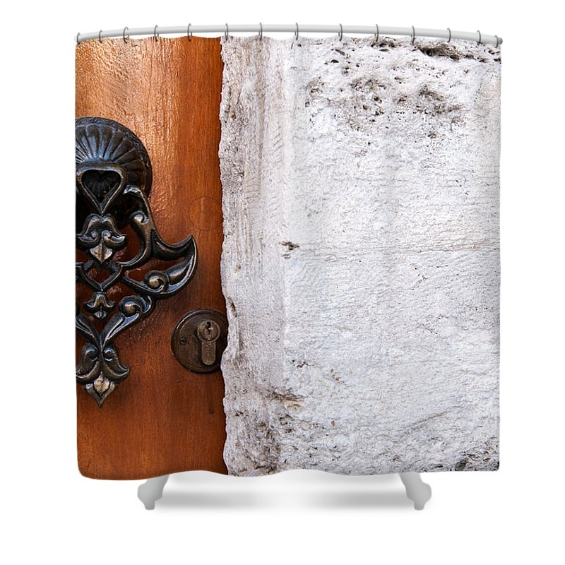 Istanbul Shower Curtain featuring the photograph Firuz Aga Mosque Door 10 by Rick Piper Photography