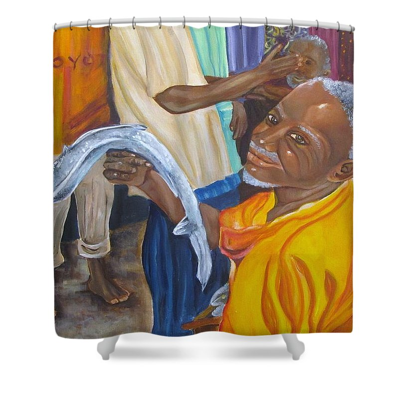 Fish Shower Curtain featuring the painting Fish Market by Carol Allen Anfinsen