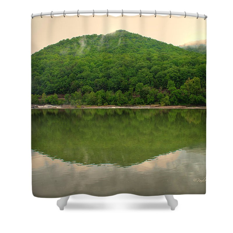 Feature Art Shower Curtain featuring the photograph Fish Reflection Where The Kanawha Begins by Paulette B Wright
