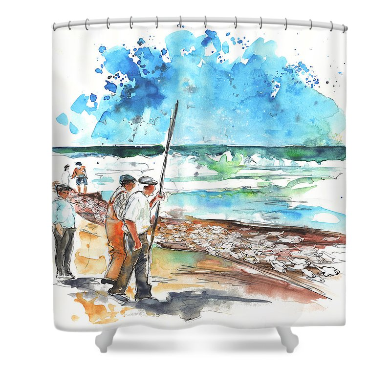 Portugal Shower Curtain featuring the painting Fishermen In Praia De Mira 02 by Miki De Goodaboom