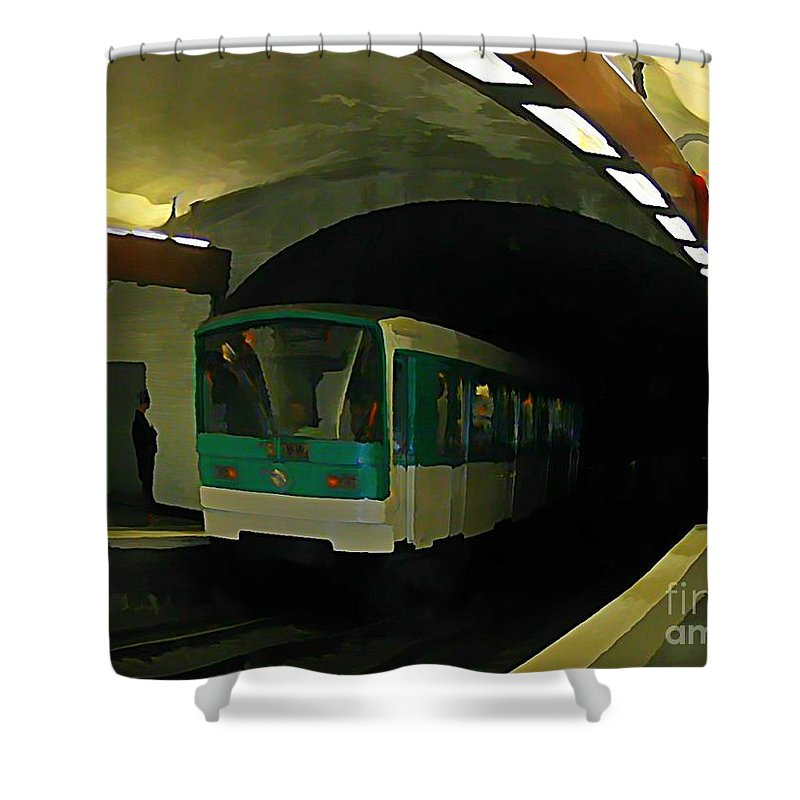 Subway Shower Curtain Featuring The Painting Fisheye View Of Paris Train By John Malone