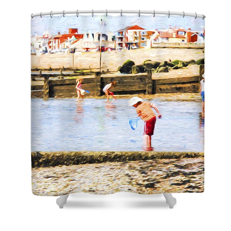 Children Fishing Shower Curtain featuring the photograph Fishing at Southend by Sheila Smart Fine Art Photography
