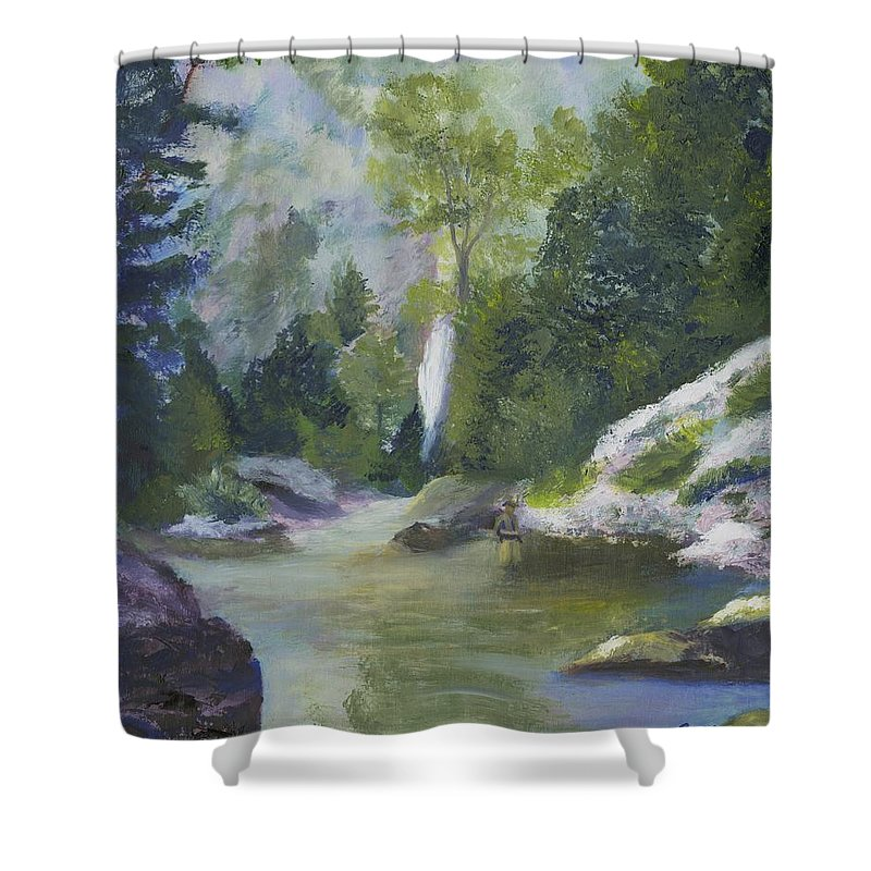 Waterfall Shower Curtain featuring the painting Fishing At The Falls by Gloria Condon
