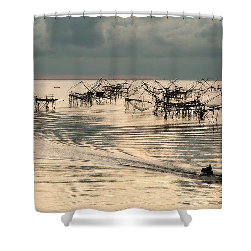 Fishing Shower Curtain featuring the photograph Fishing Boat by Kim Pin Tan