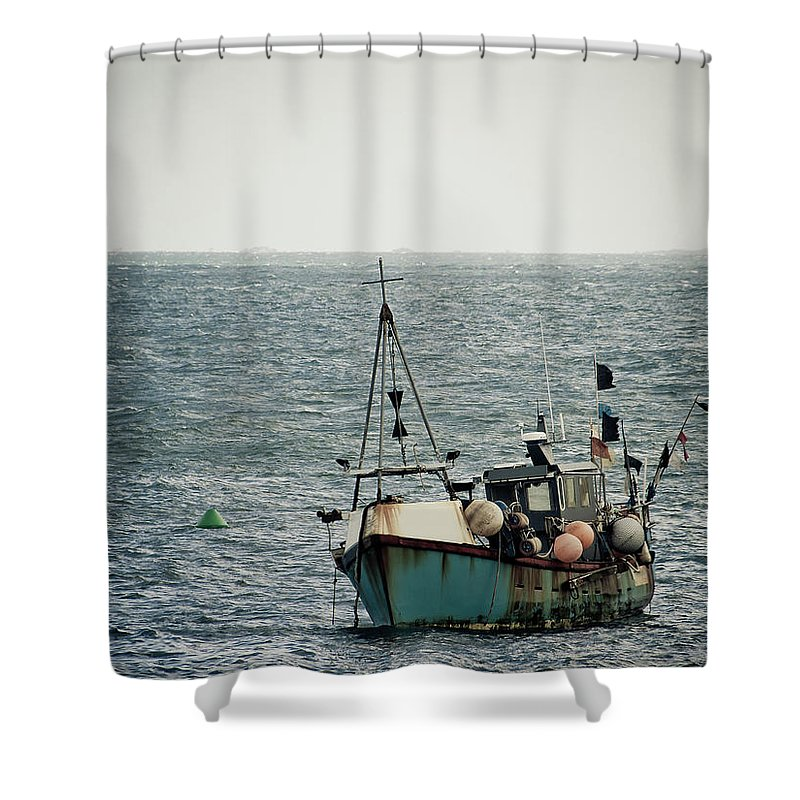English Channel Shower Curtain featuring the photograph Fishing Boat by Vfka