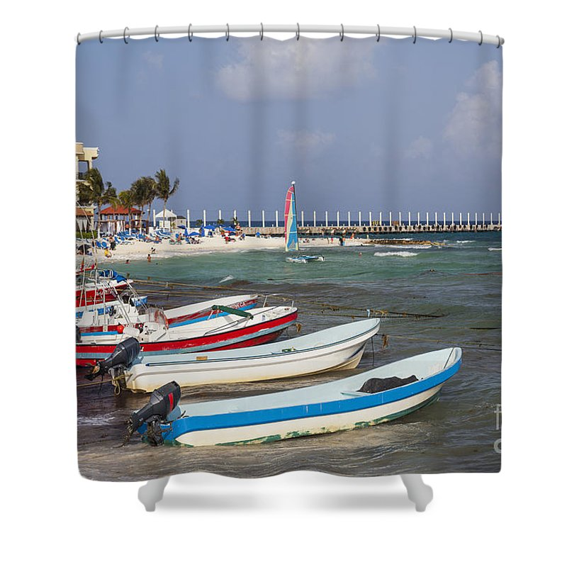 Mexico Shower Curtain featuring the photograph Fishing Boats by Bryan Mullennix