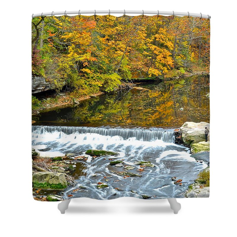 Fishing Shower Curtain featuring the photograph Fishing Is Relaxing by Frozen in Time Fine Art Photography