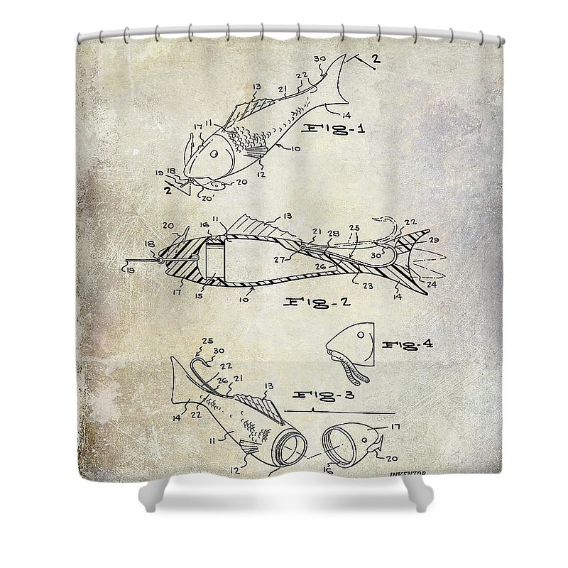 Fly Fishing Lure Shower Curtain Featuring The Photograph Patent 1959 By Jon Neidert