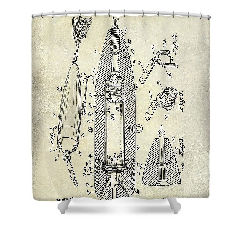Fishing Basket Shower Curtain Featuring The Photograph Lure Patent By Jon Neidert
