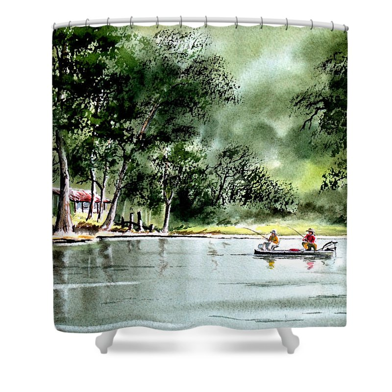 Fishing Shower Curtain featuring the painting Fishing On Lazy Days - Aucilla River Florida by Bill Holkham