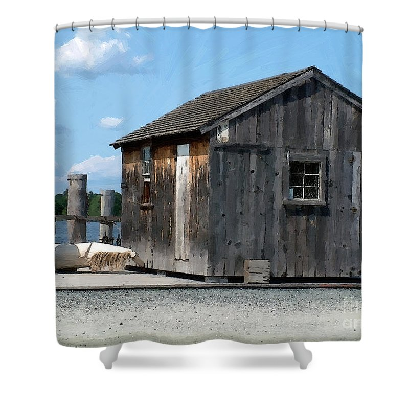 Shed Shower Curtain featuring the painting Fishing Shack On The Mystic River by RC DeWinter