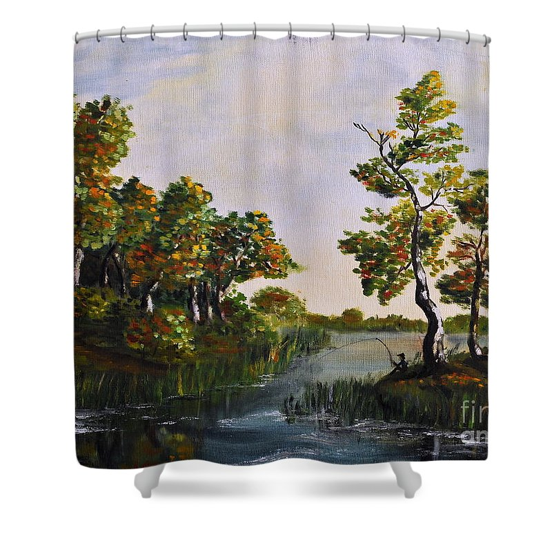 Landscape Shower Curtain featuring the painting Fishing by Teresa Wegrzyn