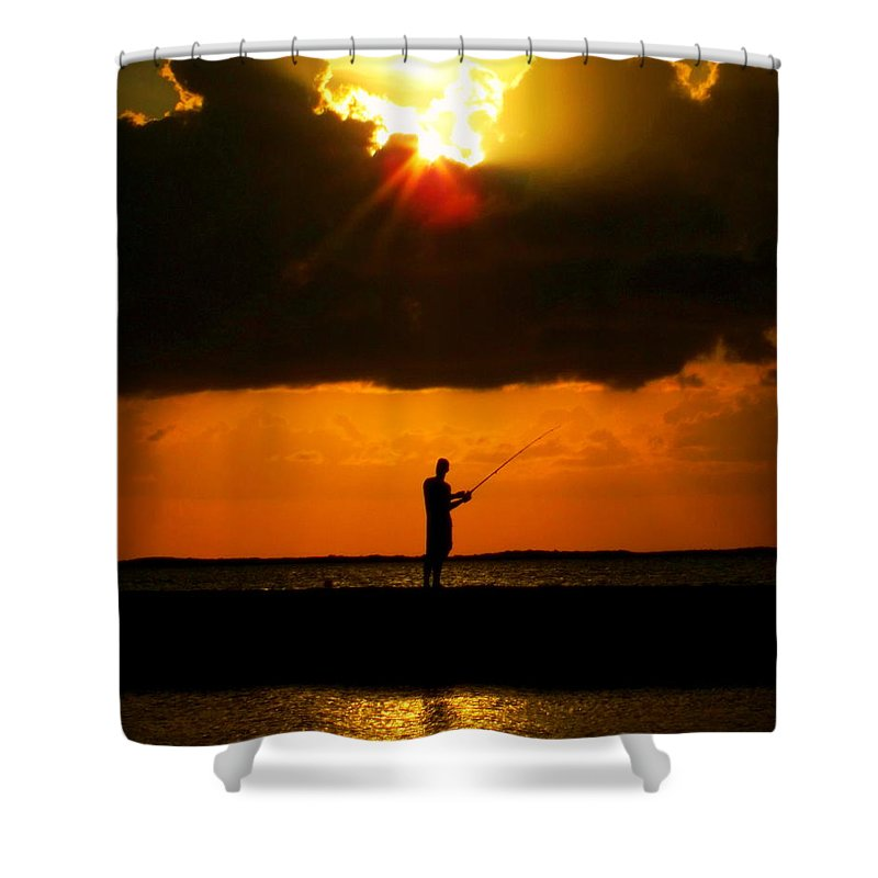 Fishing Shower Curtain featuring the photograph Fishing The Sun by Karen Wiles
