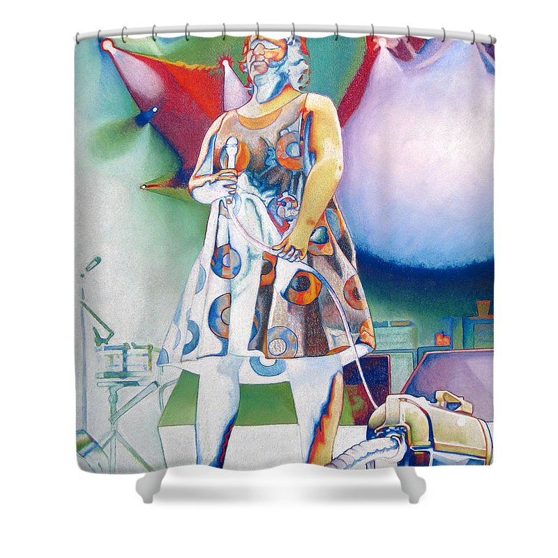 Phish Shower Curtain featuring the drawing Fishman And Vaccum by Joshua Morton