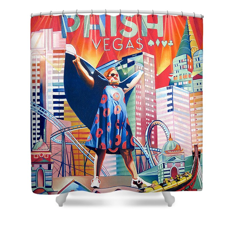 Phish Shower Curtain featuring the drawing Fishman In Vegas by Joshua Morton