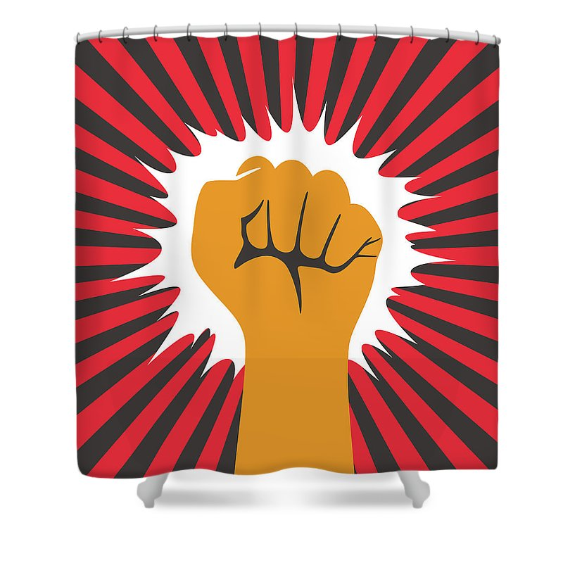 Toughness Shower Curtain featuring the digital art Fist Hand With Shining Sun by Hakule