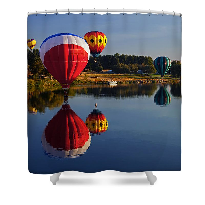 Balloons Shower Curtain featuring the photograph Five Aloft by Mike Dawson