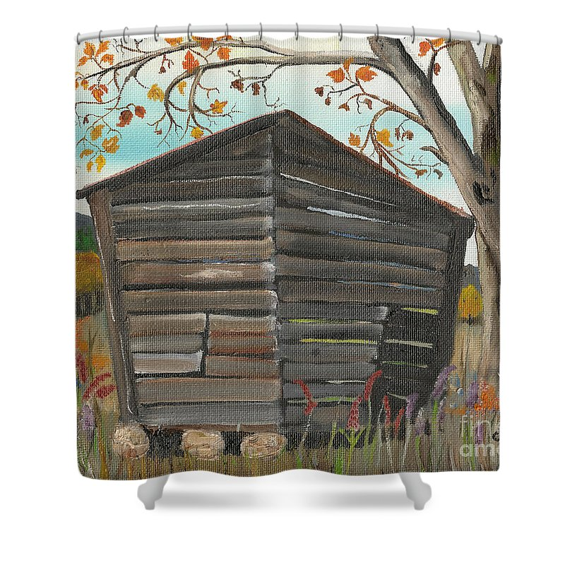 Autumn Shower Curtain featuring the painting Autumn - Shack - Woodshed by Jan Dappen