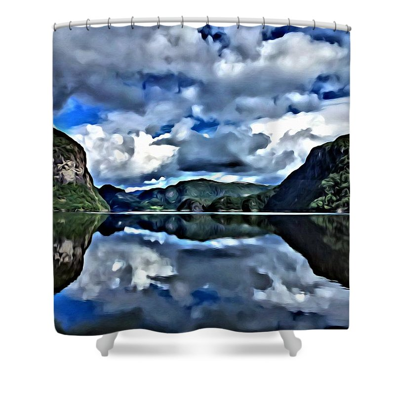 Lanscapes Shower Curtain featuring the painting Fjords Of Norway by Florian Rodarte