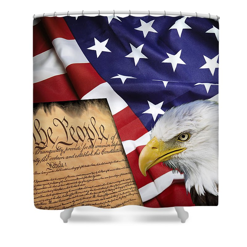 Flag Constitution Eagle Shower Curtain