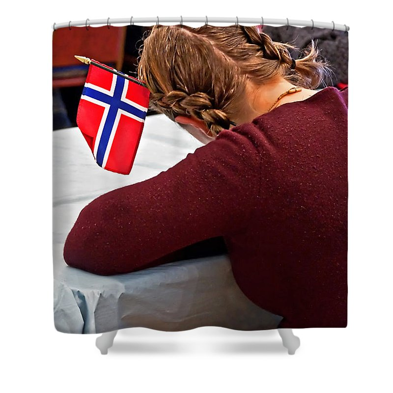 Flag Of Norway Shower Curtain featuring the photograph Flag Of Norway In Girls' Braided Hair Art Prints by Valerie Garner