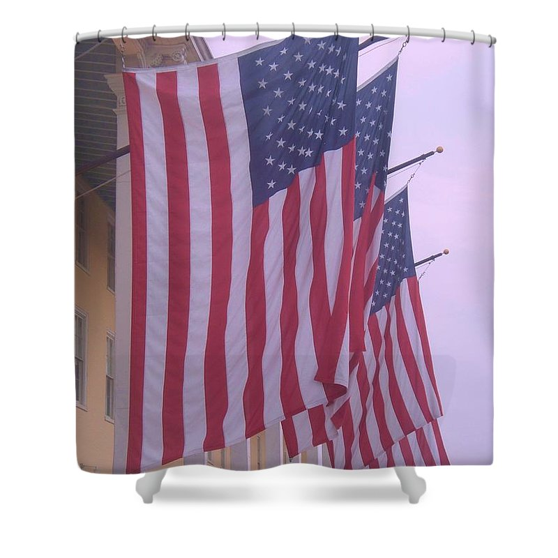 Flags Shower Curtain featuring the photograph Flags At Cape May Nj by Eric Schiabor