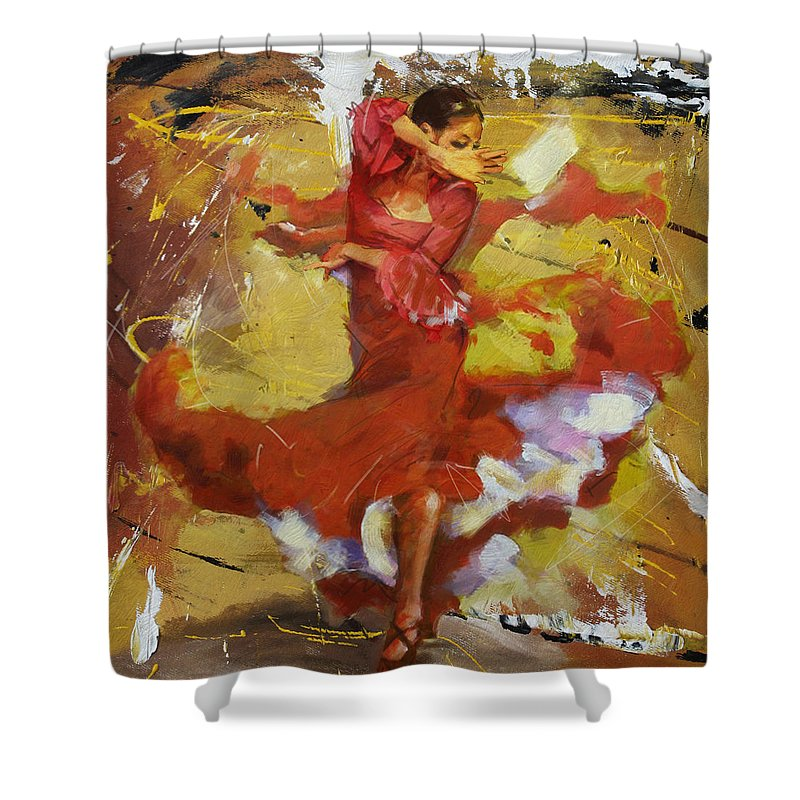 Jazz Shower Curtain featuring the painting Flamenco 44 by Maryam Mughal