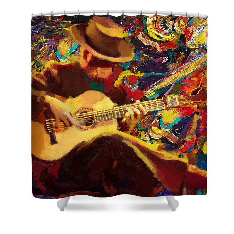 Corporate Art Task Force Shower Curtain featuring the painting Flamenco Guitarist by Corporate Art Task Force