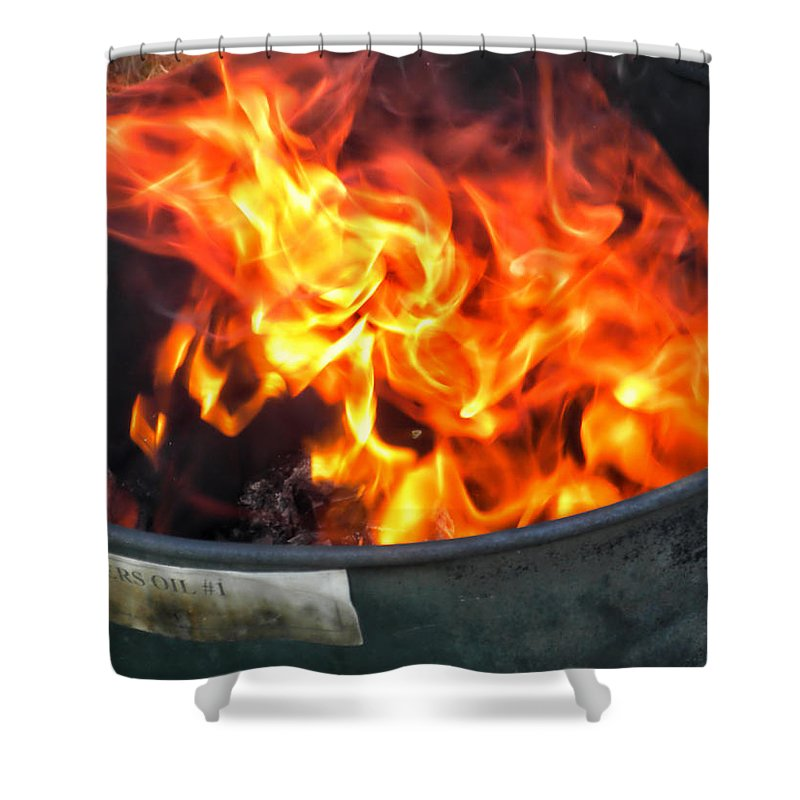Fireman Shower Curtain featuring the photograph Flames 03 From The Firemen Series by Thomas Woolworth