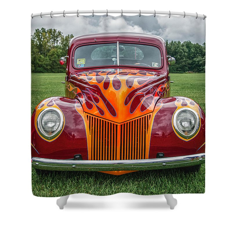 1939 Ford Coupe Shower Curtain featuring the photograph Flames by Guy Whiteley