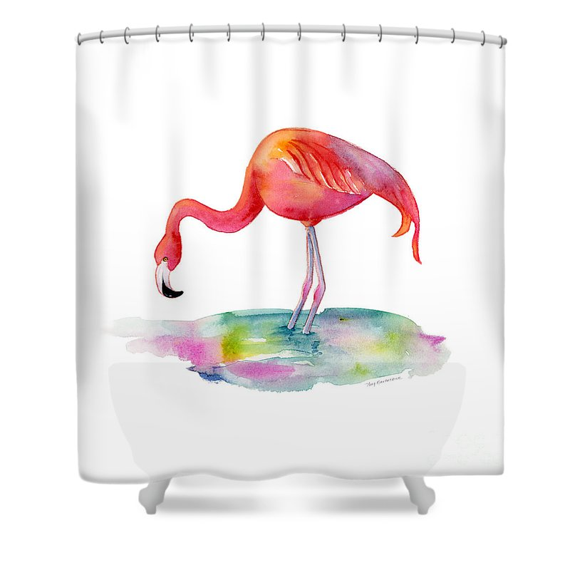 Flamingo Shower Curtain featuring the painting Flamingo Dip by Amy Kirkpatrick