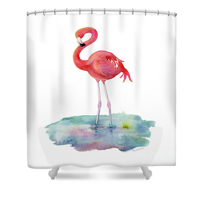 Flamingo Shower Curtain featuring the painting Flamingo Pose by Amy Kirkpatrick