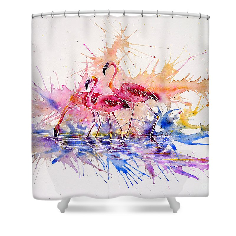 Flamingo Shower Curtain Featuring The Painting Splash By Zaira Dzhaubaeva