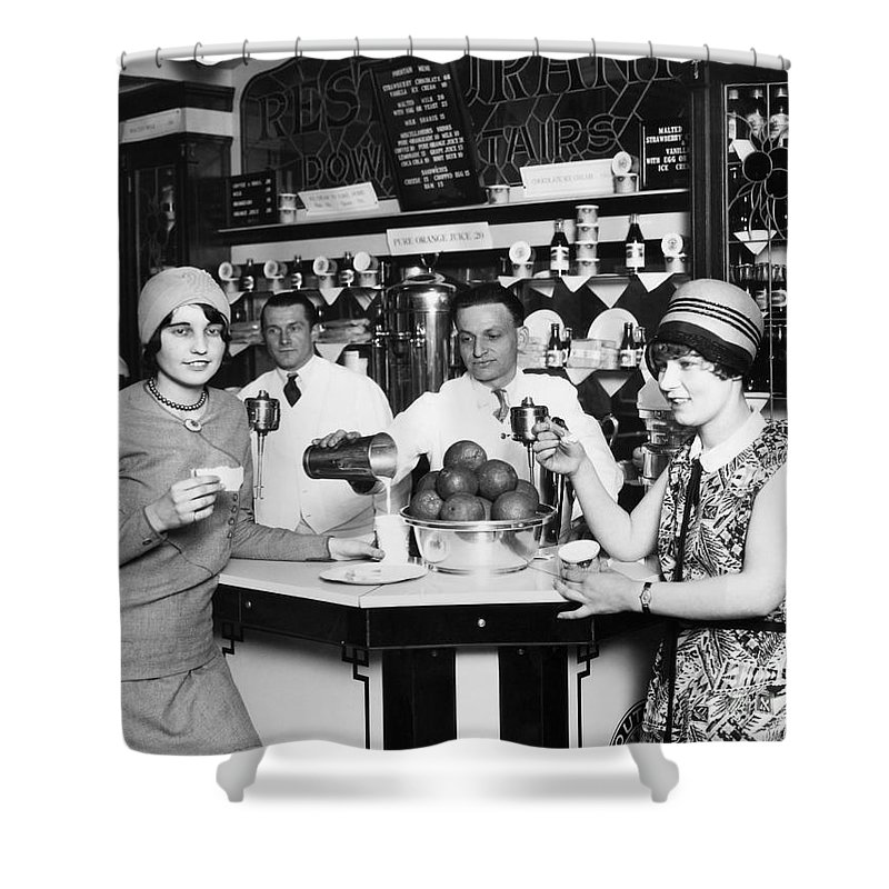 1920s Shower Curtain featuring the photograph Flappers, 1928 by Granger