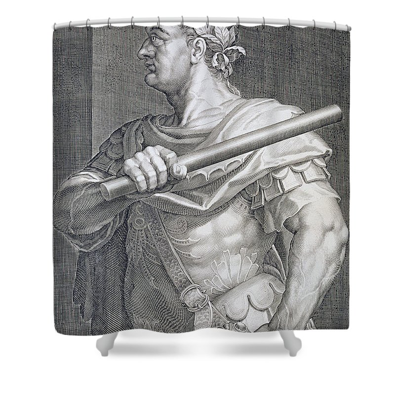 Titian Shower Curtain featuring the painting Flavius Domitian by Titian