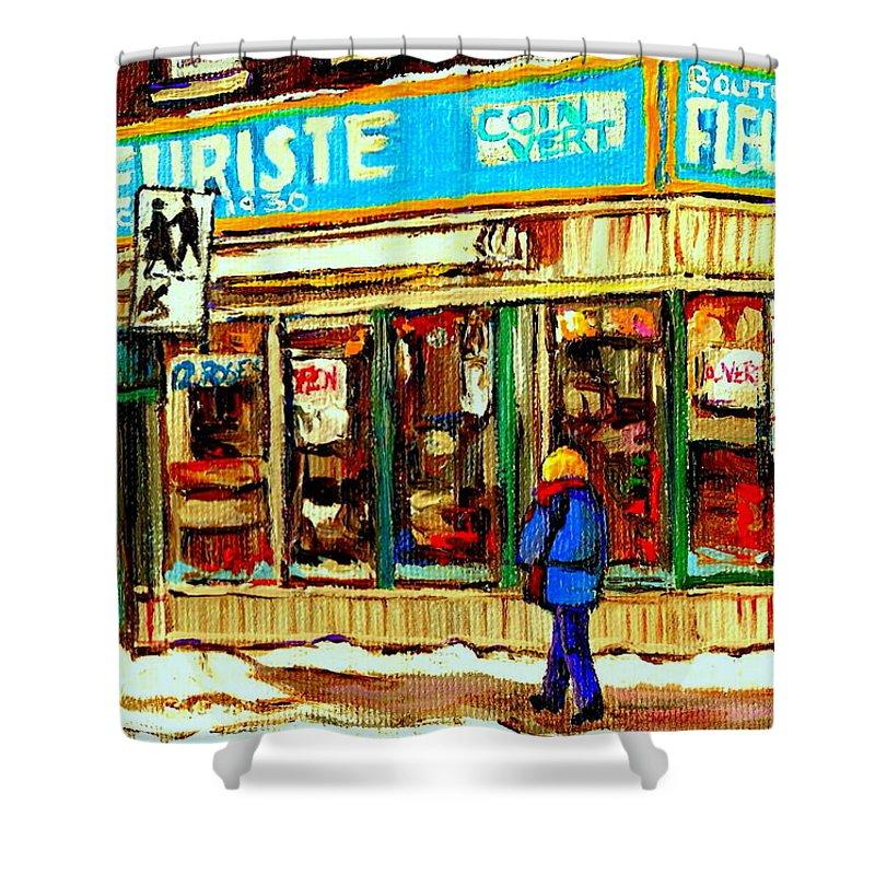 Boutique Fleurist Coin Vert Shower Curtain featuring the painting Fleuriste Notre Dame Flower Shop Paintings Carole Spandau Winter Scenes by Carole Spandau